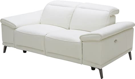 white leather reclining sofa gaia white leather power reclining loveseat from jnm