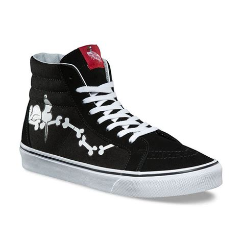 Vans Sk8 Reissue Peanuts Snoopy Bones Black Import Quality Premium buy vans x peanuts sk8 hi reissue snoopy bones black shoes