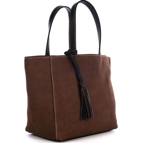 Coffee Tote small coffee nubuck leather parisian tote bag