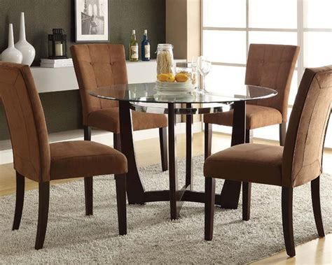 Dining Set W Glass Round Table Baldwin By Acme Furniture Glass Dining Room Furniture