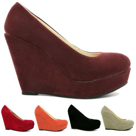 new womens wedge heel platform court shoes size ebay