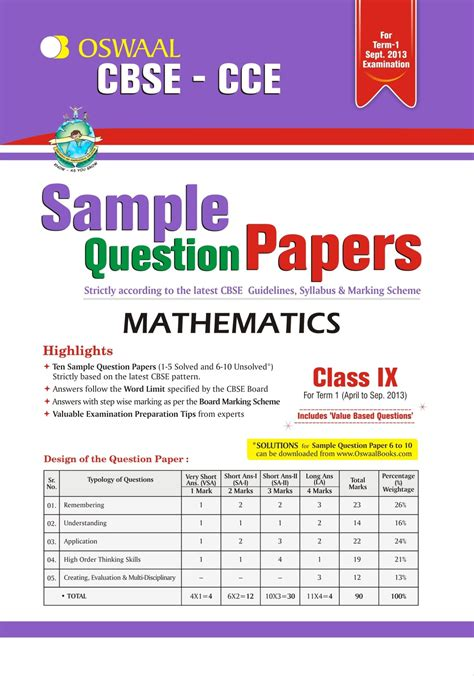 2013 Cbse Board Sle Papers And Marking Scheme Oswaal Cbse Cce Sle Question Papers For Class 9 Term I April To September 2013 Mathematics