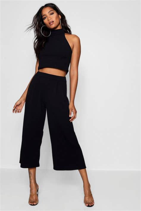 Spike Set Topculottes high neck crop culotte co ord set at boohoo