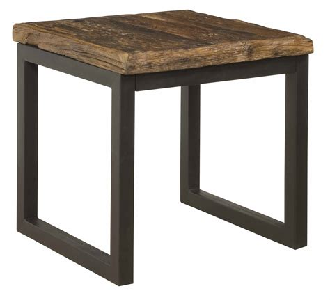 reclaimed railroad wood and iron end table statement furnishings outlet