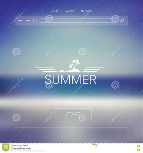 Single Page Website Template With Summer Beach Blurred Background Line Icons And Layout Hexagon Website Template