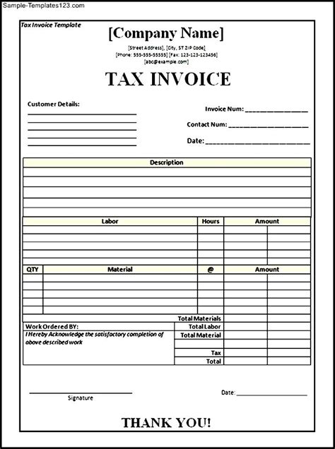 tax invoice template word sle templates