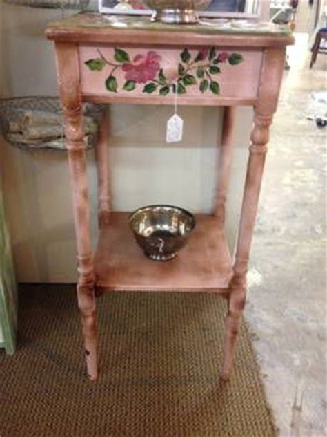 pink shabby chic side table with tile top one drawer
