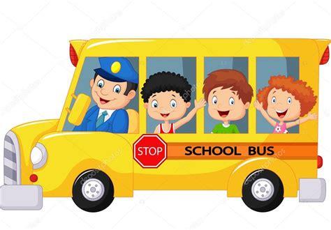 imagenes transporte escolar caricaturas caricatura de ni 241 os felices en un autob 250 s escolar vector