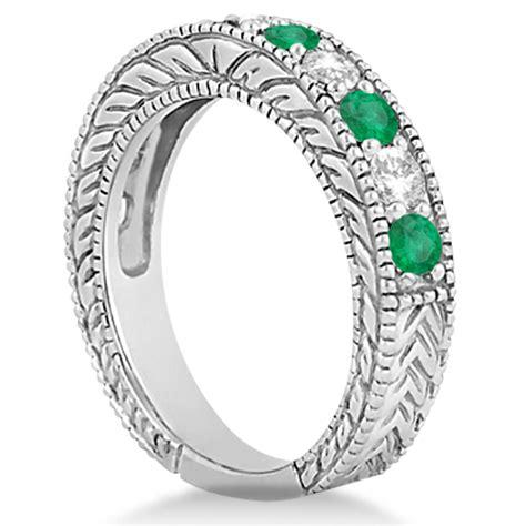 antique emerald bridal ring set 14k white gold 2