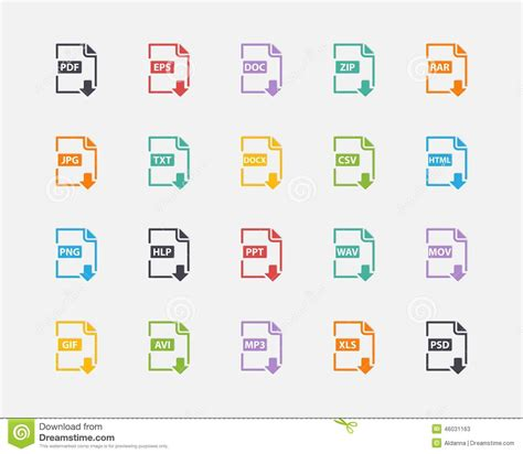 eps format is used for vector set of document file formats and labels stock