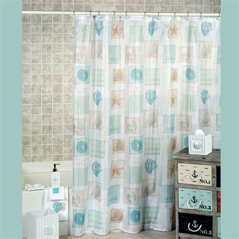 Nautical Bathroom Designs by Seaside Seashell Coastal Shower Curtain