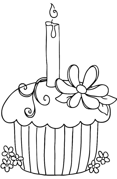 birthday cupcake coloring page az coloring pages