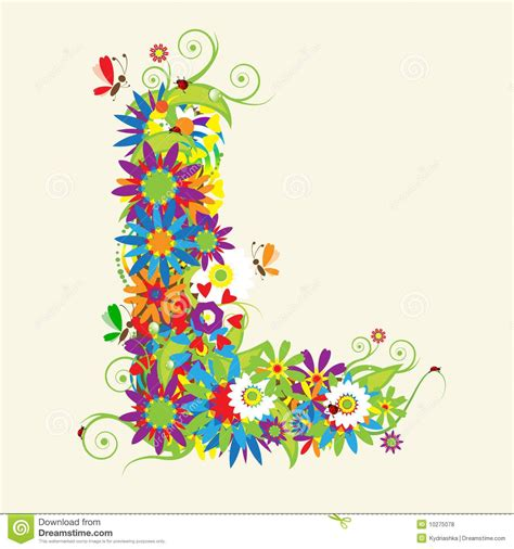 letter l floral design royalty free stock photos image