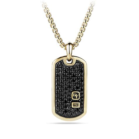 david yurman tag david yurman pav 233 tag with diamonds in 18k gold in black for lyst