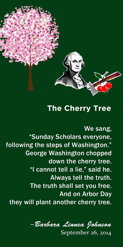 a cherry tree poem the cherry tree an original poem by barbara l johnson featuring george washington written on