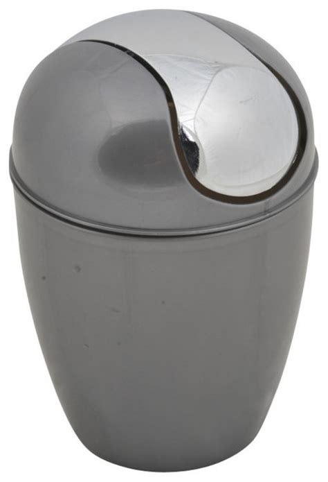Modern Bathroom Trash Can With Lid Bathroom Waste Basket Trash Can With Chrome Lid Grey