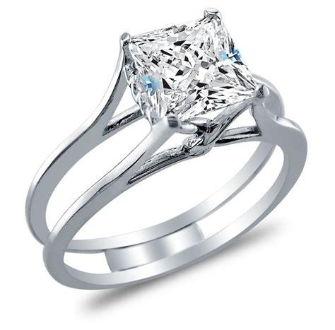 solid 14k white gold bridal set princess cut solitaire