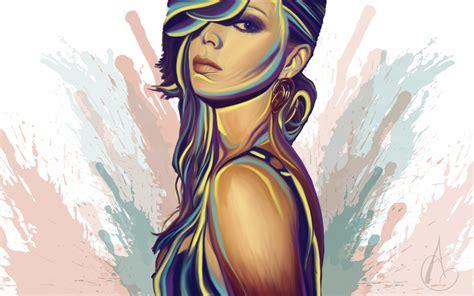 desktop wallpaper virtual girl girl mood glance vector art wallpapers girl mood glance