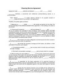 Cleaning Service Contract Sle by Cleaning Services Contract Agreement Free Printable Documents