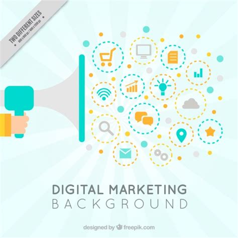 marketing background digital marketing background with megaphone vector free