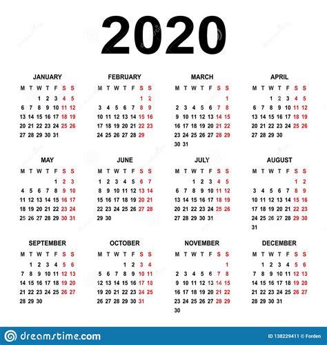 calendar  week starts  monday basic grid stock vector illustration  color planner