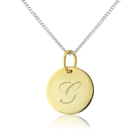 personalised gigi solid 9ct gold initial disc pendant by