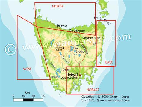 Tas Les Map tas surfer en tas australia wannasurf atlas