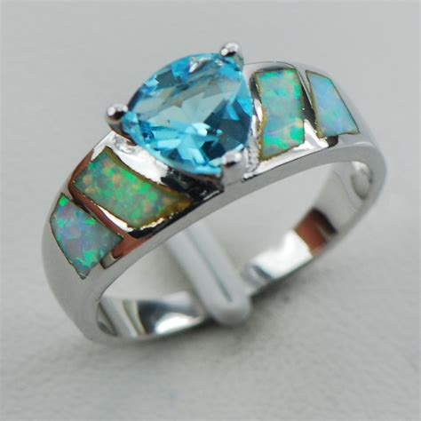 aquamarine white opal 925 sterling silver ring size 6 7 8