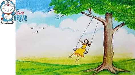 step brush swing hop how to draw scenery of a girl swing on tree step by step