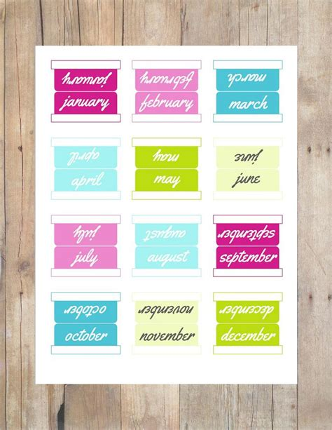 month tabs sets multi colored printable planner