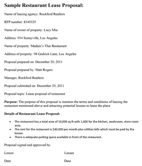 restaurant lease proposal template