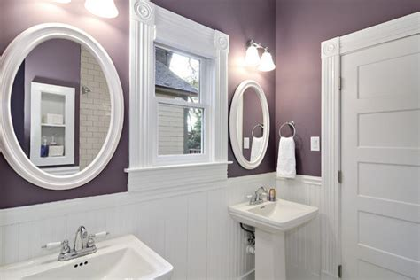 purple bathroom purple and white bathroom