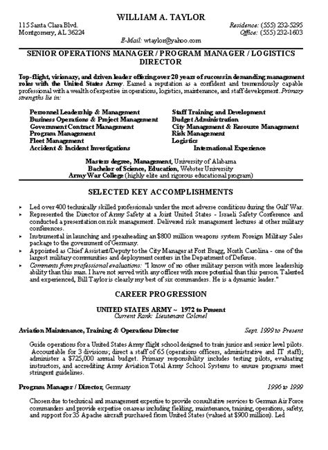 To Civilian Resume Exles by Army Experience On Resume Resume Ideas