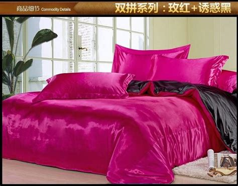 Pink And Black Bedding For Adults by Black And Pink Silk Satin Bedding Comforter Set King