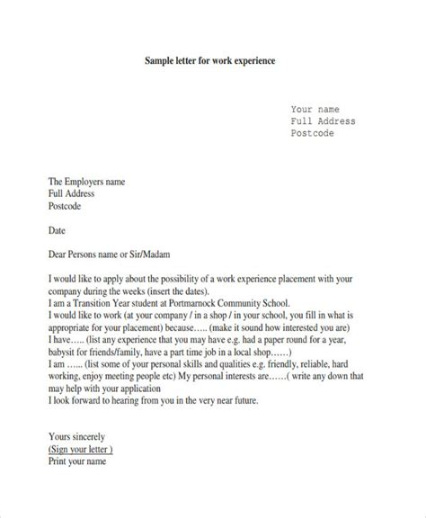 Work Experience Letter For Staff 6 Work Letter Templates 6 Free Sle Exle Format