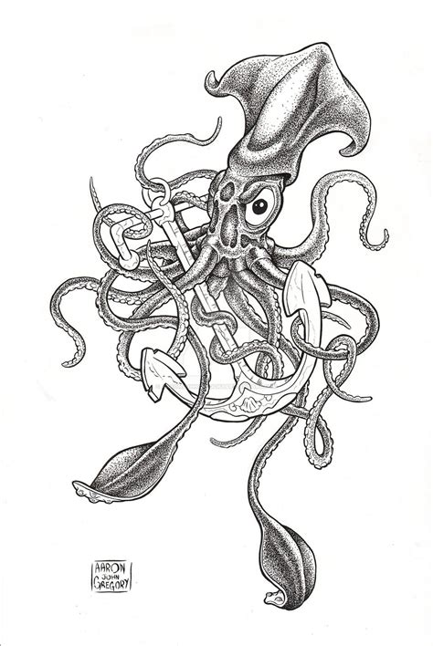 squid tattoo designs squid sinking ship design by johanna