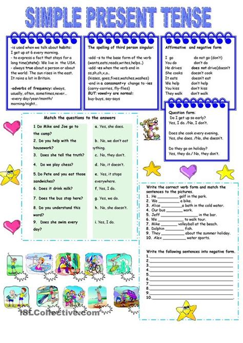 simple present tense worksheets presents and simple on pinterest