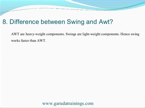 difference between awt and swing in java java latest interview questions with answers