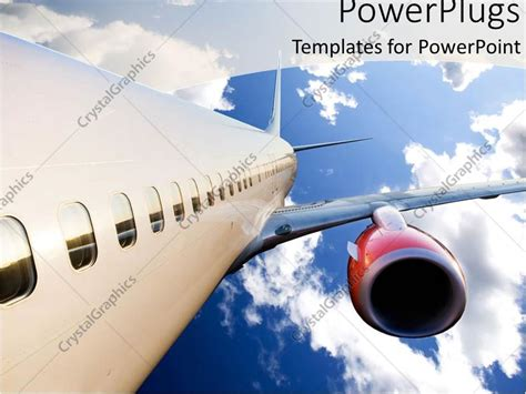 Powerpoint Template Airplane With Red Engine Flying In Blue Cloudy Sky 1465 Airplane Powerpoint Template