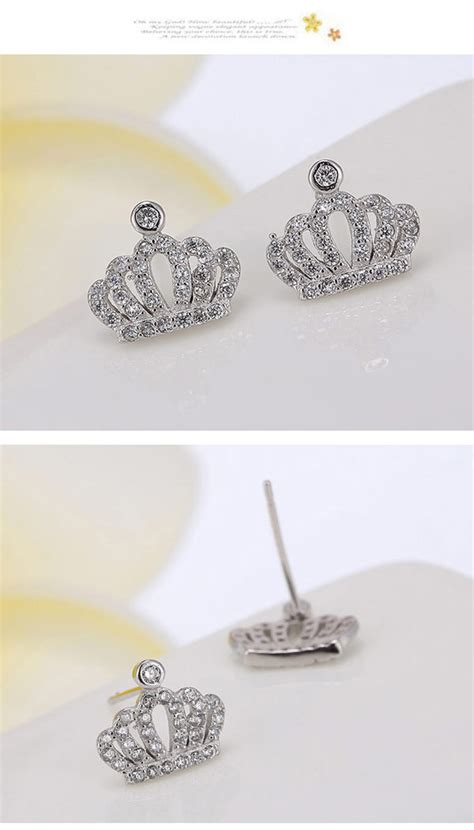 Decorated Crown Shape Design T56bd5 casual silver color decorated crown shape design cuprum stud earrings asujewelry