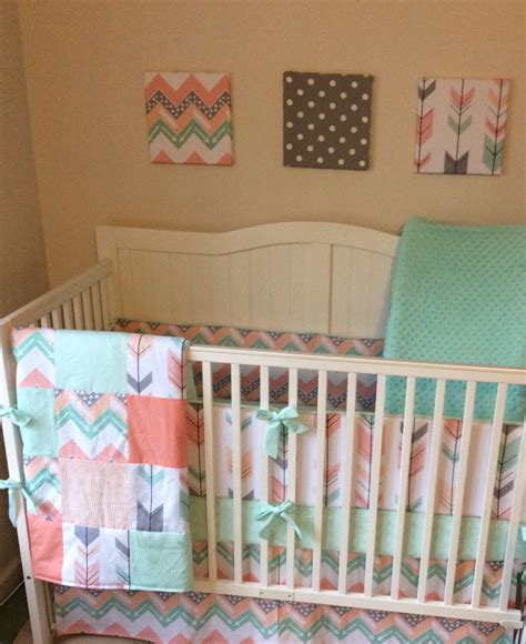 mint and coral baby bedding peach mint coral and gray arrows and chevron crib bedding