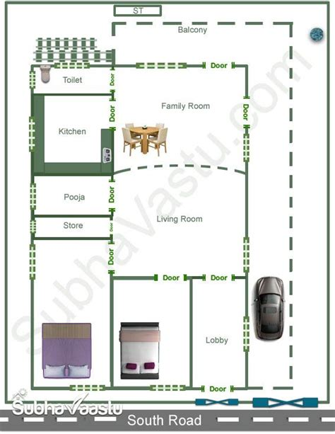 south facing vastu house plan subhavaastu