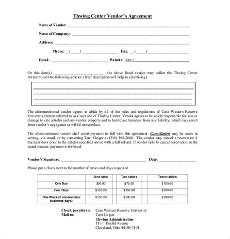 booking terms and conditions template 17 vendor agreement templates free sle exle