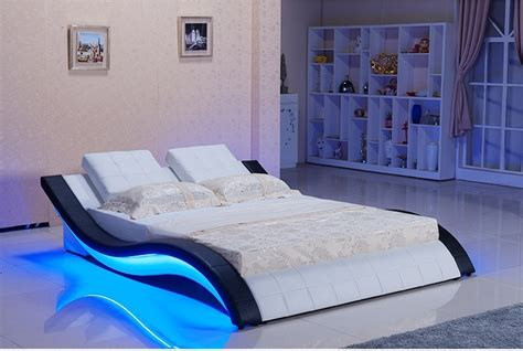 modern real genuine leather bed soft beddouble bed king
