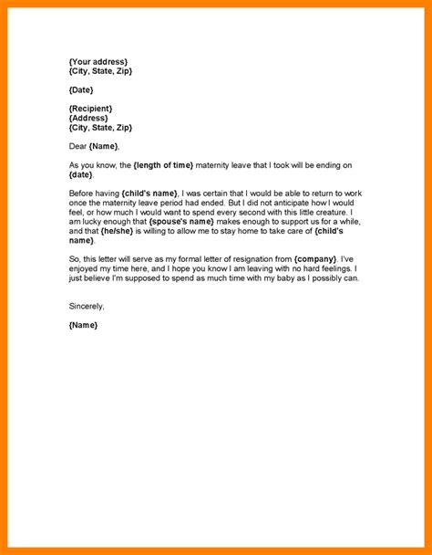 sle cover letter for returning to work going back to work after maternity leave letter template
