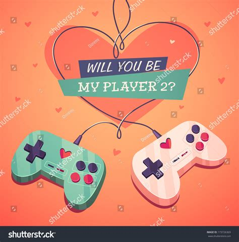 my two valentines will you be my player valentines stock vector 173726369