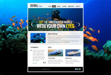 Free Website Template Diving Club Free Club Website Templates