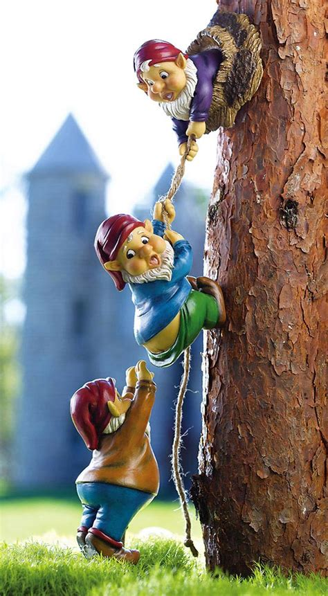 climbing gnomes tree fence decor outdoor yard home resin