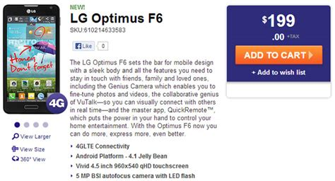 lg optimus f6 specs phone arena lg optimus f6 now available from metropcs for 199