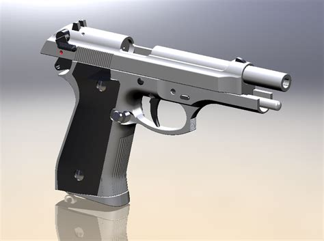 solidworks tutorial gun m92f handgun solidworks 3d cad model grabcad